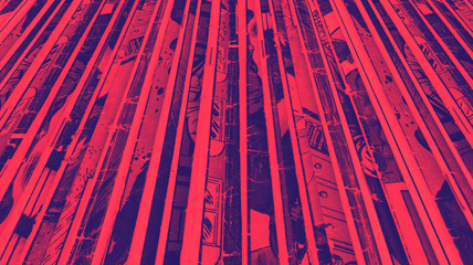 Pile of old vintage comic books background texture with vibrant red and blue duotone color effect