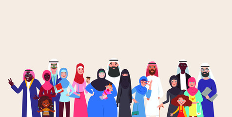 Foto op Aluminium Abstractie Art Group of muslim arabic people joined with happiness. Group young and old muslim people standing together. Colorful vector illustration in flat style.