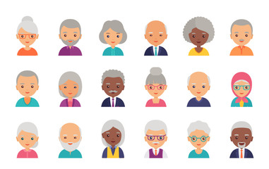 Old people avatar. Vector. Person flat icon. Elderly seniors. Set happy grandfathers and grandmothers faces. Group retired grandparents characters isolated on white background. Cartoon illustration.
