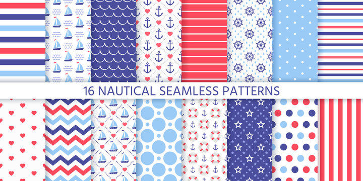 Nautical seamless pattern. Vector. Marine sea backgrounds with sailboat, anchor, wheel, stripe, zigzag, Lifebuoy. Set blue red prints. Geometric textures for baby shower, scrapbook. Color illustration