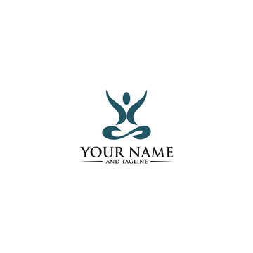PrintYoga Logo abstract design vector template Linear style. Health Spa Meditation Harmony Logotype concept. Man in lotus pose icon