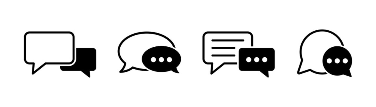 Chat icons vector isolated element. Set of talk bubble speech signs. Blank bubbles vector icons. Message vector icons.