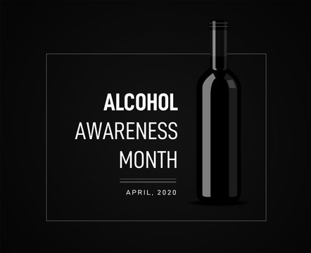 Awareness Month on the dangers of alcohol. illustration with a bottle of wine on the background