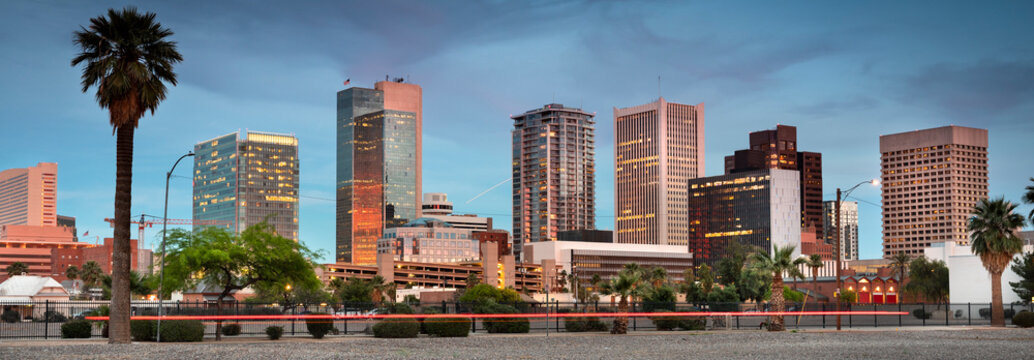 Cityscape panoramic skyline view of office buildings and apartment condominiums in downtown Phoenix Arizona USA