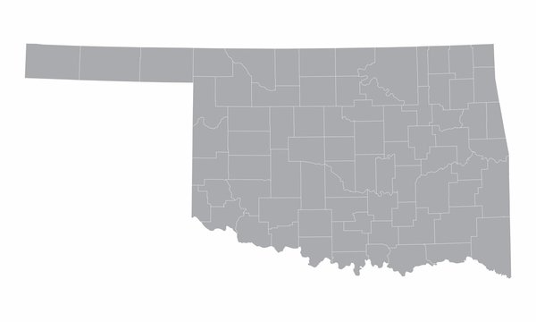 The Oklahoma counties map isolated on white background
