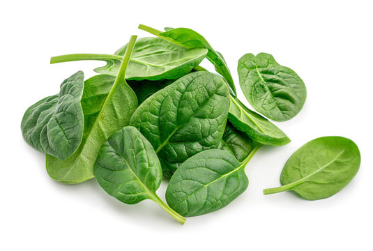 Pile of fresh green baby spinach leaves isolated  on white background. Close up