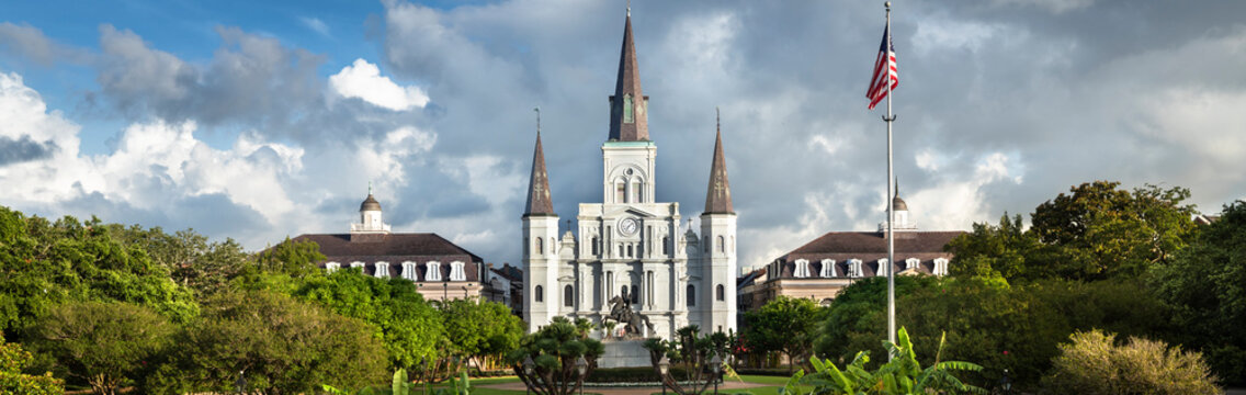 Historic St. Louis Cathedral panorama and the statue of Andrew Jackson across Jackson Square in New Orleans Louisiana USA