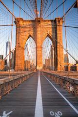 Tuinposter Brooklyn Bridge Pedestrian path over the Brooklyn Bridge connecting Manhattan New York City over the East River
