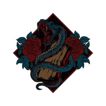 snake screenprinting vector illustration