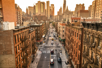 Densely populated neighbourhood streets of downtown Chinatown in Manhattan New York USA