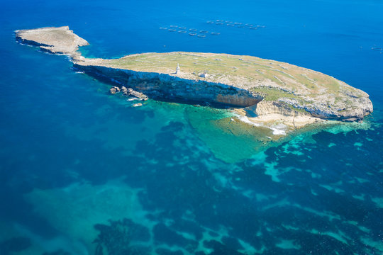 Aerial view of the St Pauls Island off the north east coast of Malta.