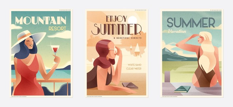 Retro Design Summer Holiday and Summer Camp poster. Girl relaxing on the beach. Vector
