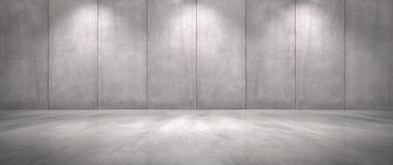Concrete Wall Background with Floor Empty Garage Scene