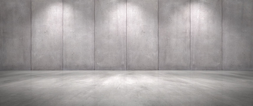 Concrete Wall Background with Floor Empty Garage Scene