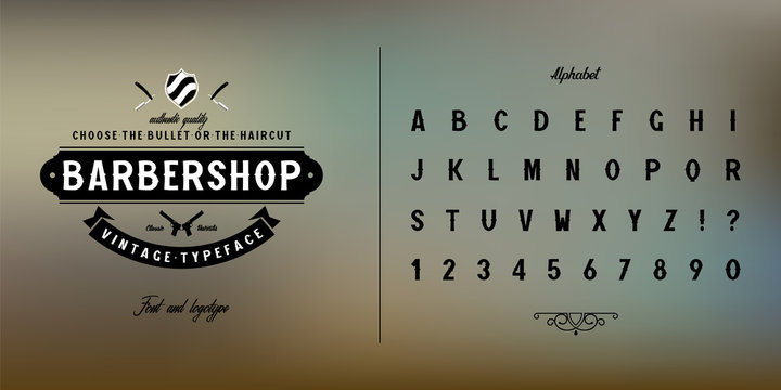 Vintage handmade Font. Headlines, banners, retro alphabet. Logo concept for barbershop.Vector font with serifs.