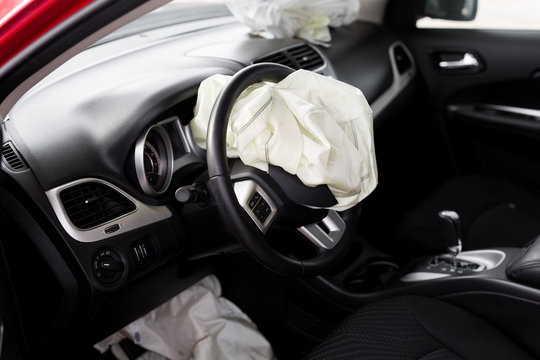Airbag exploded at a car accident. Car Crash
