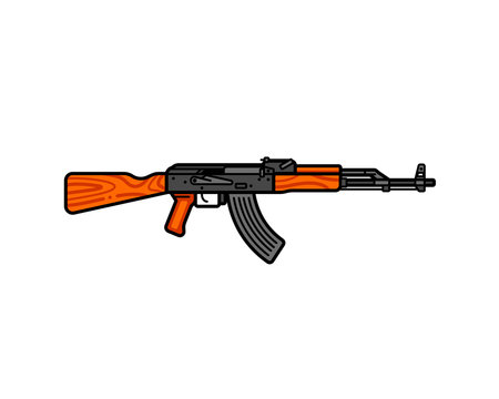 Kalashnikov assault rifle line icon. AK-47 vector flat illustration. Legendary Russian automatic machine gun.