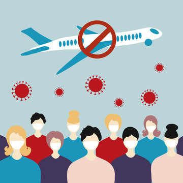 Coronavirus. Cancellation of flights due to coronavirus concept. Novel coronavirus 2019-nCoV, people in white medical face mask and crossed out airplane