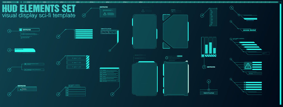 Interface elements HUD, UI, GUI. Vector Callout Titles set. Futuristic callout bar labels, information call box bars and modern digital info boxes layout templates. Callouts titles in HUD style.