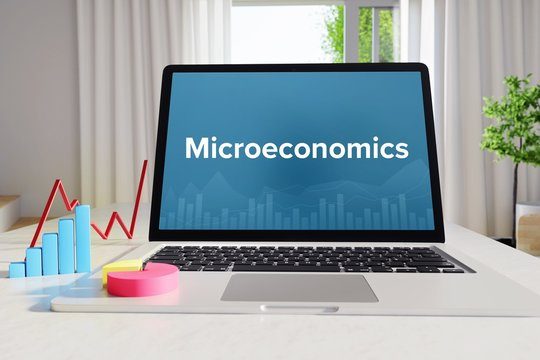 Microeconomics – Statistics/Business. Laptop in the office with term on the Screen. Finance/Economy.