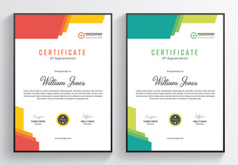 Certificate Layout with Colorful Accents
