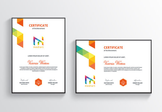 Certificate Layout with Colorful Design Elements