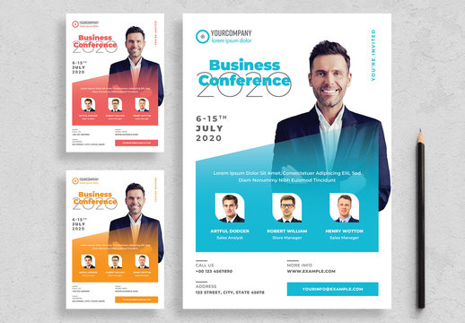 Conference Flyer Layout with Colorful Accents