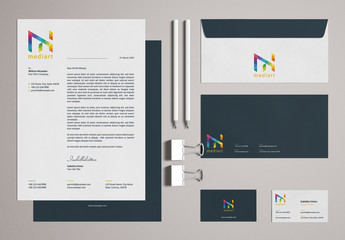 Stationery Set Layout with Colorful Design Elements