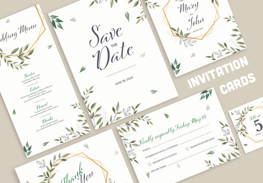 Wedding Invitation Layout Set with Green Leaves