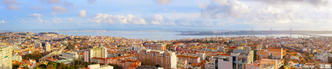 Fototapete - Panoramic aerial view Lisbon Portugal
