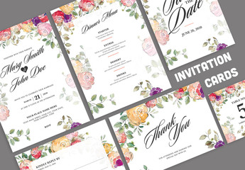 Wedding Invitation Layout Set with Colorful Watercolor Flowers