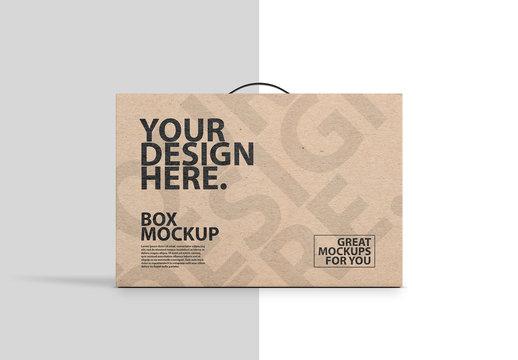 Brown Carton  with Handle Mockup