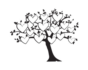 Family Tree Vector with Pictures Frame in shape of a heart, Wall Decals, Wall Decor, Flying Birds Silhouette on a tree, isolated on white background. Art Design
