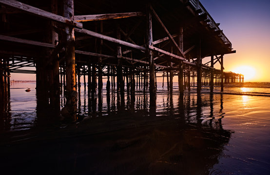 Barnacle-encrusted pilings of Crystal Pier at low tide on a sunny Winter evening