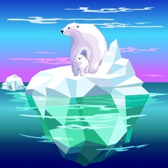 Spoed Fotobehang Draw Polar Bear Mom and Baby on Iceberg Climate Change Vector Illustration