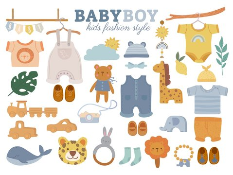 Set with baby trendy clothes, accessories and toys on white background. Boys kids fashion elements. Shorts, shirt, trousers, jumpsuit. Casual child wardrobe on hanger. Cartoon vector illustration.