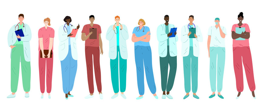 Doctors, medical workers, medics and nurses. Representatives of different medical specialties. Ethnically diverse