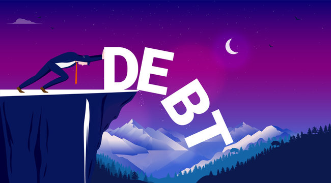 Get rid of debt - Man pushing the word debt over a cliff. Decrease, lower, and zero debt concept. Vector illustration.