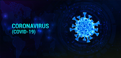 Covid-19 bacteria with to the World Map and infected locations. Coronavirus healthcare banner. 3D Microbe on dark background. Infection pathogen virus with decay parts of polygons. Vector illustration Wall mural