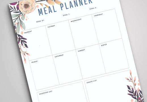 Meal Planner Layout with Floral Border Elements