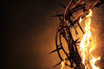 Deurstickers Vuur Crown of Thorns with flames background