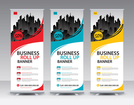 Business Roll Up Banner stand vector creative design. Sale banner stand or flag design layout. Modern Exhibition Advertising vector eps10. Trend design geometric.