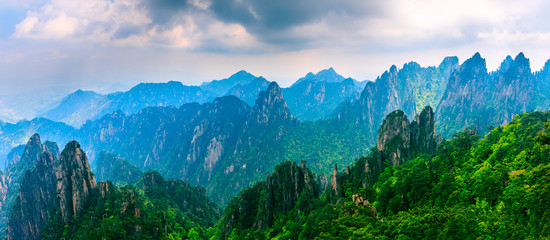 Beautiful Huangshan mountains landscape at sunset in China.