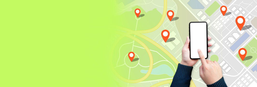 Navigation and digital map concepts with young person using gps on smartphone and city town background for marking location point