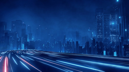 Wall Mural - 3D Rendering of warp speed in hyper loop with blur light from buildings' lights in mega city at night. Concept of next generation technology, fin tech, big data, 5g fast network, machine learning