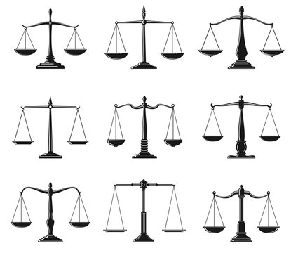 Scales of justice and law balance symbols