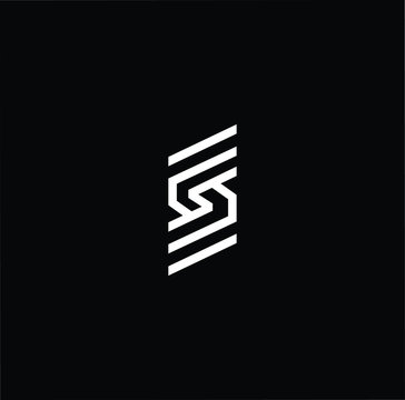 Minimal elegant monogram art logo. Outstanding professional trendy awesome artistic S SS SSS initial based Alphabet icon logo. Premium Business logo White color on black background