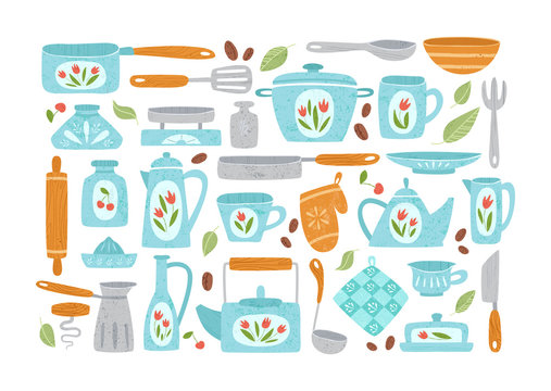 Kitchen utensil or kitchenware design elements. Cooking color cliparts isolated on white. Trendy textures on cartoon kitchen items. Ceramic, wooden tableware flat hand drawn vector set provencal style