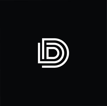 Minimal elegant monogram art logo. Outstanding professional trendy awesome artistic D DD DDD initial based Alphabet icon logo. Premium Business logo White color on black background