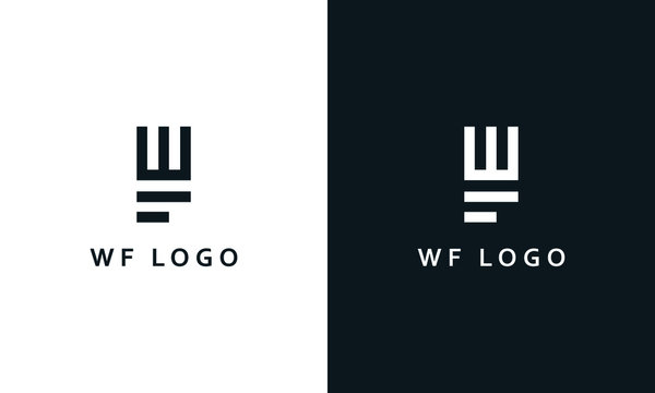 Minimal abstract line art letter WF logo. This logo icon incorporate with letter W and F in the creative way.